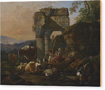 Roman Landscape With Cattle And Shepherds Wood Print by Johann Heinrich Roos