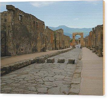 Roman Street In Pompeii Wood Print by Alan Toepfer