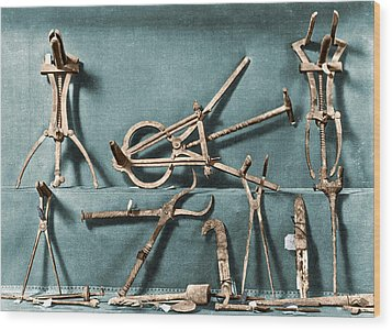 Wood Print featuring the photograph Roman Surgical Instruments, 1st Century by Science Source