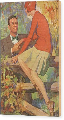 Romance 1920s Usa Manners Chivalry Wood Print by The Advertising Archives