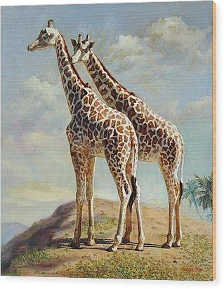 Romance In Africa - Love Among Giraffes Wood Print by Svitozar Nenyuk