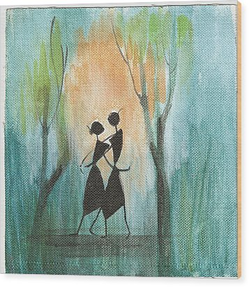Romance In Blue Wood Print by Chintaman Rudra