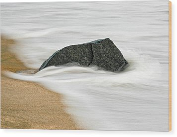 Surf Caresses A Lonely Stone Wood Print