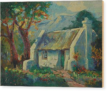 Romantic Cape Cottage Wood Print