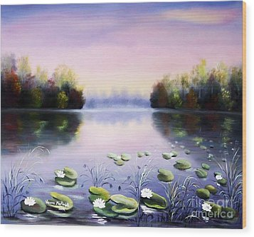 Romantic Lake Wood Print by Vesna Martinjak