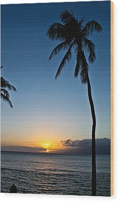 Romantic Maui Sunset Wood Print