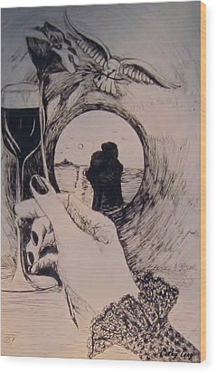 Wood Print featuring the drawing Romantic Notions by Cathy Long