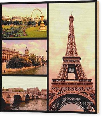 Romantic Paris Sunset Collage Wood Print by Carol Groenen