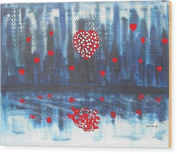 Romantic Reflection Wood Print by Diane Pape