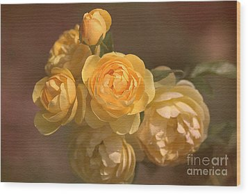 Romantic Roses Wood Print by Joy Watson