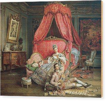 Romantic Scene Wood Print by Ignacio De Leon y Escosura