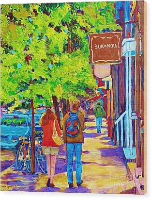 Romantic Stroll Along Rue Laurier Montreal Street Scenes Paintings Carole Spandau Wood Print by Carole Spandau
