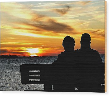 Romantic Sunset Wood Print by Cindy Croal