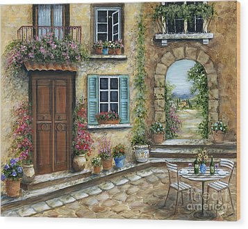Romantic Tuscan Courtyard Wood Print by Marilyn Dunlap