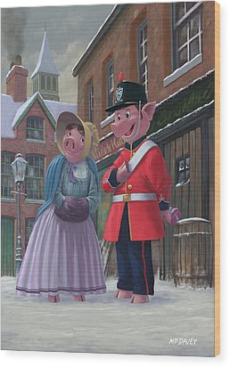 Romantic Victorian Pigs In Snowy Street Wood Print by Martin Davey