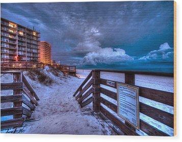 Romar Beach Clouds Wood Print by Michael Thomas