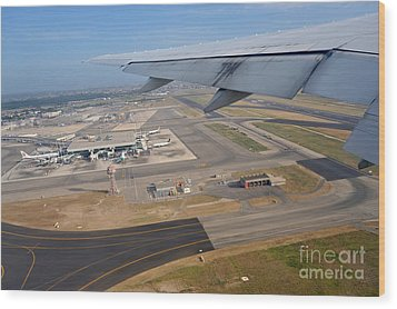 Rome Airport From An Aircraft Wood Print by Sami Sarkis