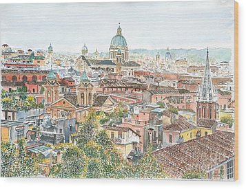 Rome Overview From The Borghese Gardens Wood Print by Anthony Butera