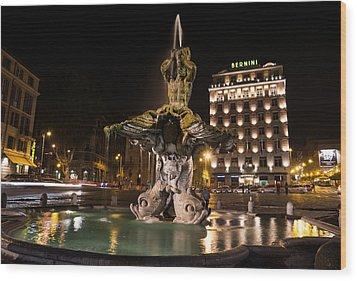 Rome's Fabulous Fountains - Bernini's Fontana Del Tritone Wood Print