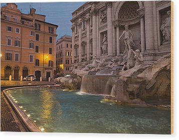 Rome's Fabulous Fountains - Trevi Fountain At Dawn Wood Print