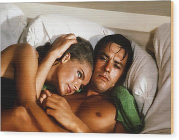 Romy Schneider And Alain Delon Wood Print