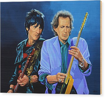 Ron Wood And Keith Richards Wood Print by Paul Meijering