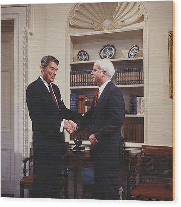 Ronald Reagan And John Mccain Wood Print by Carol Highsmith