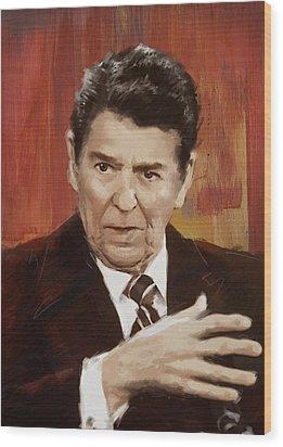 Ronald Reagan Portrait 2 Wood Print by Corporate Art Task Force