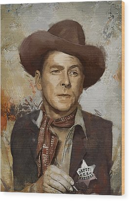 Ronald Reagan Portrait 4 Wood Print by Corporate Art Task Force