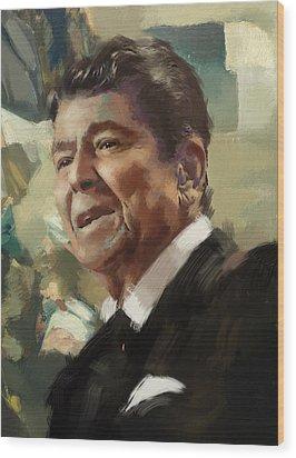 Ronald Reagan Portrait 5 Wood Print by Corporate Art Task Force