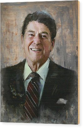 Ronald Reagan Portrait 7 Wood Print by Corporate Art Task Force