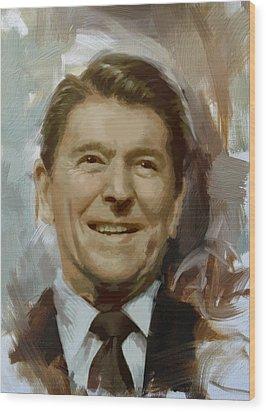 Ronald Reagan Portrait Wood Print by Corporate Art Task Force