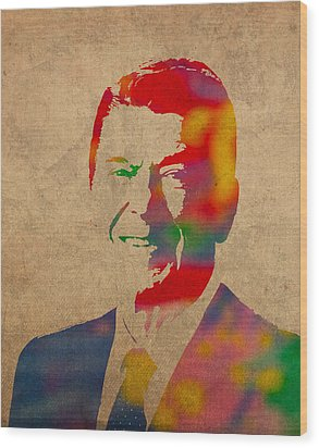 Ronald Reagan Watercolor Portrait On Worn Distressed Canvas Wood Print by Design Turnpike