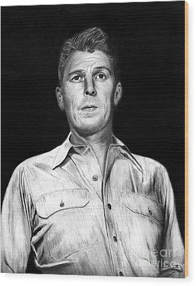 Ronald Regan Wood Print by Peter Piatt
