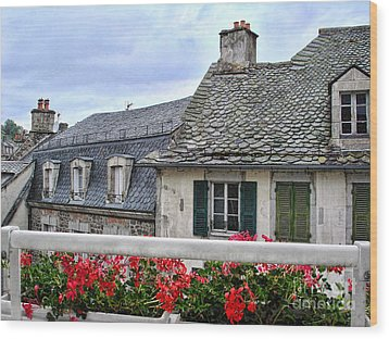 Roofs In The Cantal Auvergne France Wood Print by Menega Sabidussi