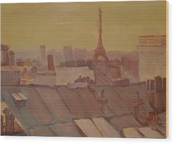 Wood Print featuring the painting Roofs Of Paris by Julie Todd-Cundiff