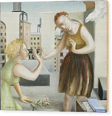 Rooftop Annunciation One Wood Print by Caroline Jennings
