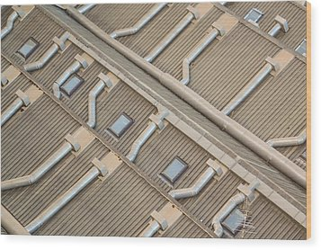 Rooftop Ducts Wood Print