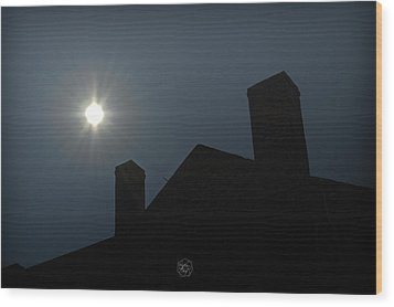 Rooftop Silhouette Wood Print by Brian Archer