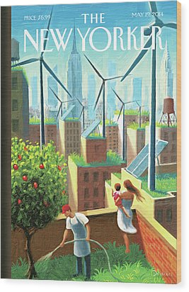 Rooftop Urban Gardening In New York Wood Print