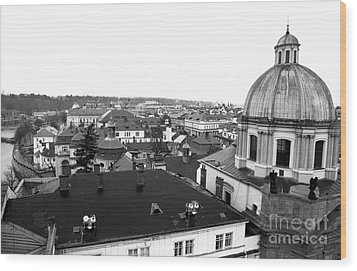 Rooftop View In Praha Wood Print by John Rizzuto