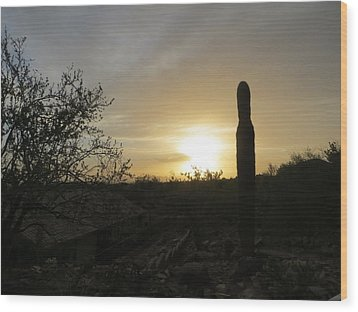 Rooftops At Desert Sunset Wood Print by Jean Marie Maggi