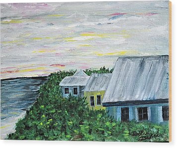 Wood Print featuring the painting Rooftops At Sunset by Debbie Baker