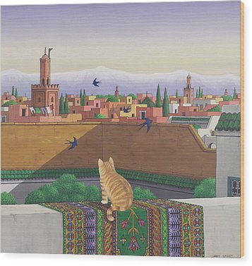 Rooftops In Marrakesh Wood Print by Larry Smart