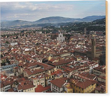Rooftops Of Florence Wood Print by David and Mandy