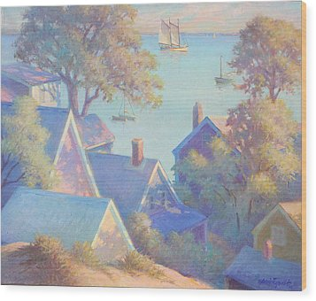 Rooftops Of Provincetown Harbor Wood Print by Ernest Principato