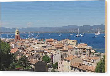 rooftops of St-Tropez Wood Print by Solange Rhode