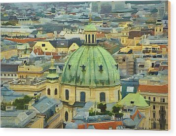 Rooftops Of Vienna Wood Print by Jeffrey Kolker