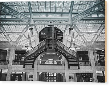 Rookery Building Atrium Wood Print