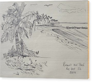Roosevelt Blvd Beach  Key West Fla Wood Print by Diane Pape